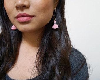 Pink Tassel Earrings, Pale Pink Tassels, Long Earrings