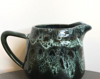 Vintage small green pottery jug - gorgeous glazing - home decor - vintage kitchen
