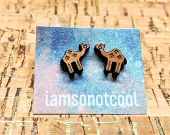 Camel Earrings / Camel Stud Earrings / Laser-Cut Wood Earrings / Animal Studs / Animal Jewelry / Hump Day Earrings / Camel Studs