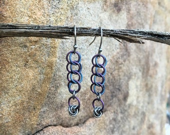 Titanium Chainmail Earrings