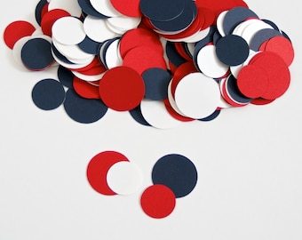 Nautical Baby Shower Circle Confetti - Red,Navy and White