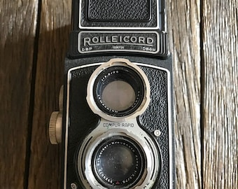 Antique Camera - Antique Rolleicord Camera - Old Rolleicord Box Camera With Original Leather Camera Case - Old Camera - Rare Camera