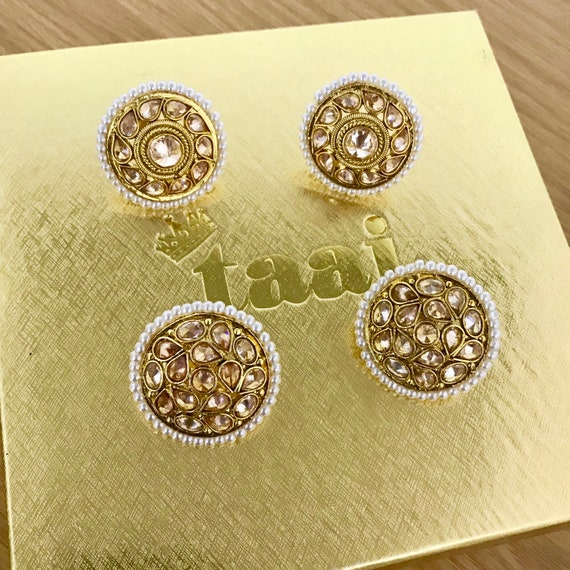Arla 2 pack gold zirconia pearl earrings stud topps indian bridal pakistani jewellery