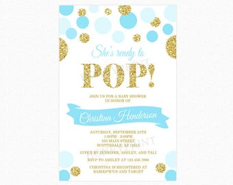 Ready to pop invite etsy shes ready to pop baby shower invitation blue gold glitter polka dots boy personalized printable and printed filmwisefo