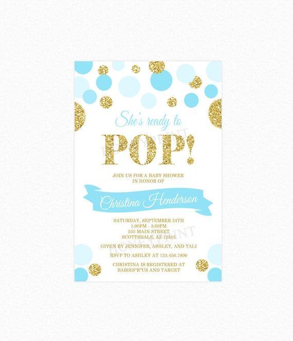 Shes Ready To Pop Baby Shower Invitation Blue Gold