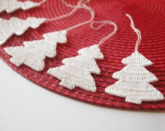 Hanging Christmas decorations Crochet Christmas ornaments Christmas tree decor White Christmas tree