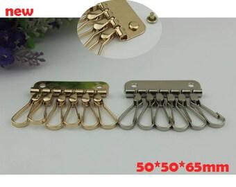 100pcs  50*50*65mm new design silver golden color DIY metal key bag snap hook/organizer/holder for purse wholesale  KS-786