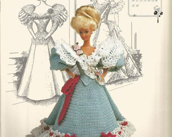Miss February 1994, Fashion Doll Dress, Crochet Pattern, Annies Calendar Bed Doll Society, sewing pattern, sewing supplies, Gibson Girl,Cute