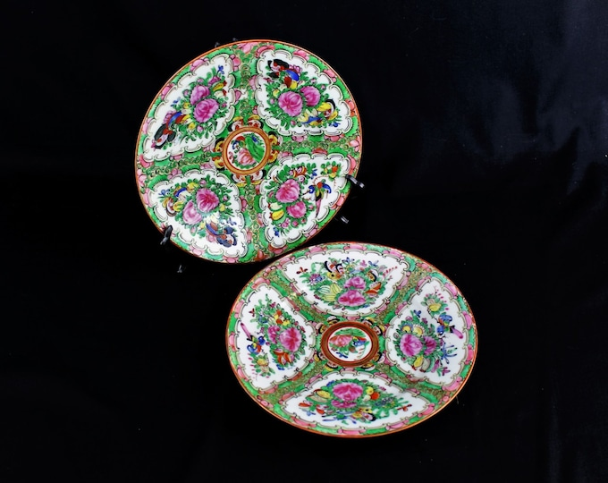 Vintage-Chinese-Canton Porcelain-Familee Rose Medallion Plates-Circa. 1940's