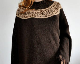 Knit poncho wrap dark brown loose knit boho Brown poncho sweater  Handmade Women Poncho Ready to Ship