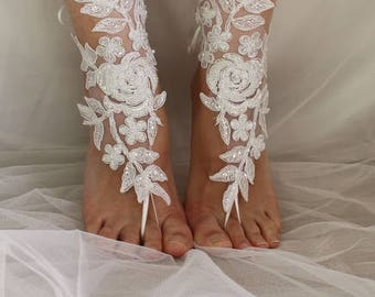 barefoot sandals,wedding shoes, summer shoes,Beaded white  lace, wedding sandals,prom dress accessories, foot jewelry,N-3A