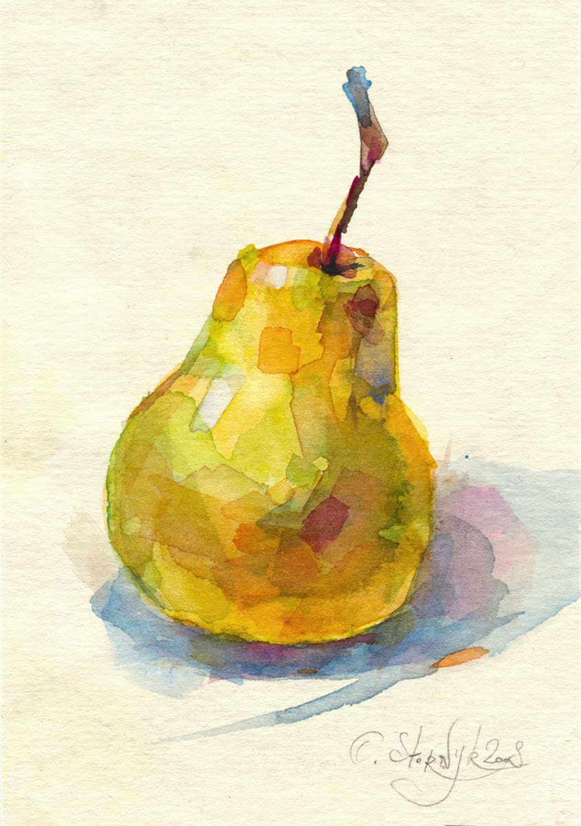Watercolor pear painting print fruit painting still life.