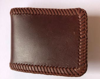 Simple handmade brown leater laced wallet