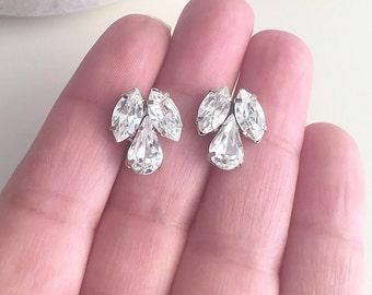 Clear swarovski vintage style bridal earrings, bridesmaids wedding accessories, sparkly earrings, stud earrings ,
