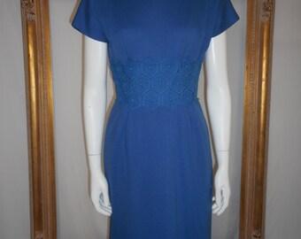 Vintage 1960's Blue Knit Dress - Size 8