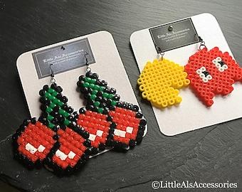Cherry Earrings, Video Gamer, Cherry Jewelry, Retro Gaming, Kawaii Jewelry, Rockabilly Earrings, Geeky Jewelry, Gift For Her, Geek Gifts