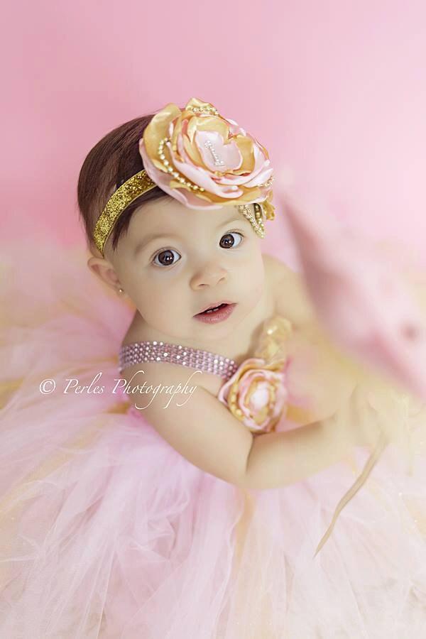 Gorgeous Beautiful Light Pink And Gold Tutu Dress Satin Shabby
