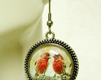 Two red birds on a branch earrings - BAP06-006