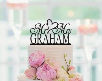 Wedding Cake Topper, Mr and Mrs, Personalized Last Name, Anniversary Cake topper, Custom Cake Topper, Wedding Decor, 002