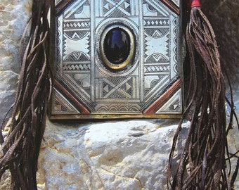 RESERVED RESERVED Tuareg Tscherot Amulet Necklace with Onyx and Leather Cords, A large piece!