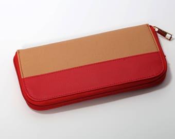 Faux Leather Purse, Slim Wallet Women, Coin Wallet, Ladies Vegan Wallet, Card Wallet Women, Zipper Wallet, Fabric Wallet Women