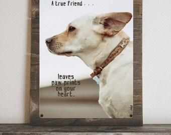 Custom Dog Photo Art on Reclaimed Wood Frame-Pet Photo Art-Rustic Frame