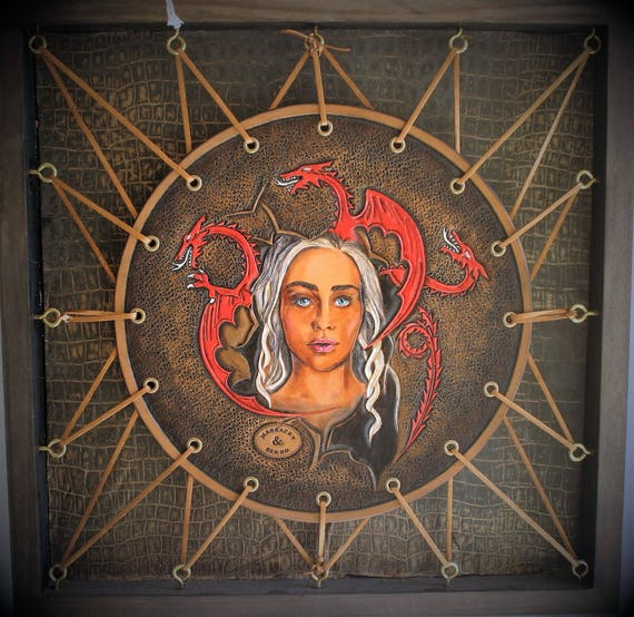Wall art, portrait of Daenerys, Game of thrones fan art, embossing leather, mother of dragons