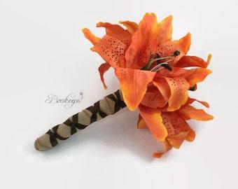 Tiger Lily Bouquet, Orange Lily Bouquet, Orange Tiger Lily, Burlap, Tan, Brown, Orange Bouquet, Bridal Bouquet, Bridesmaid Bouquet, Wedding