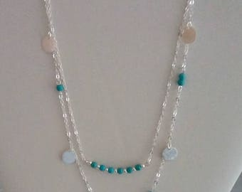 2 strand silver turquoise necklace - multi layered necklace - jewelry