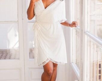 Short lace wrap wedding dress, Simple lace wedding dress short, Ivory lace short wrap wedding dress, Convertible short wedding dress lace