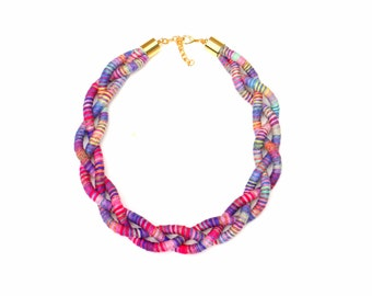 Textile Statement Necklace For Women, Multi Color Braided Rope Necklace For Her, Statement Jewelry