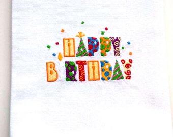 Happy Birthday Tea Towel   Embroidered Kitchen Towel   Embroidered Tea Towel   Embroidered Towel   Birthday Towel  Best Friend Birthday Gift