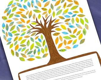Ketubah: Signing Tree of life in full color - Ketubah, Quaker, Vows