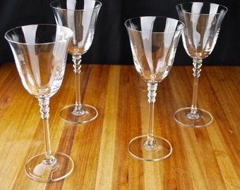 Delicate Vintage Lead Wine Glass with Triple-Diamond cut Stem