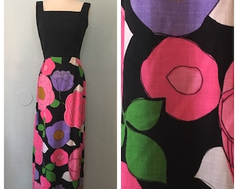 Vintage 60s Mod Abstract Flower Print Maxi Dress Size Small