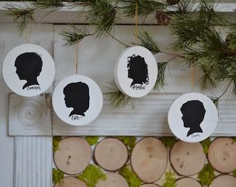 Hand Painted Silhouette Ornament, Custom Silhouette Portrait, Silhouette Portrait, Mother's Day, Gift Idea, Christmas