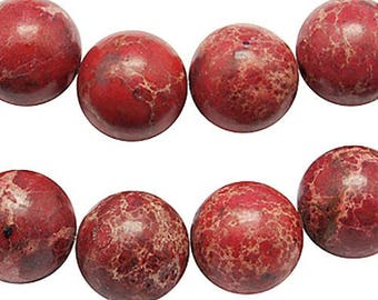 6MM: 10 reality red marbled round beads