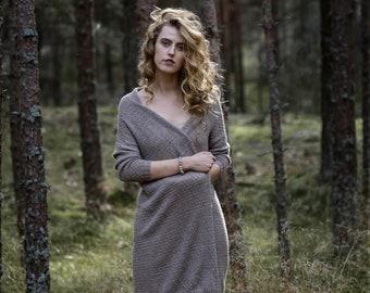 Long cardigan in 100% alpaca wool woman knit coat fine knit maxi cardigan dark grey cardigan brown knit cardigan alpaca wool cardigan