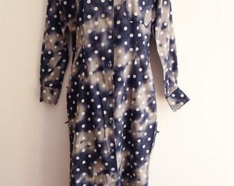 Bill Tornade cotton dark cloud and white dot printed shirt dress