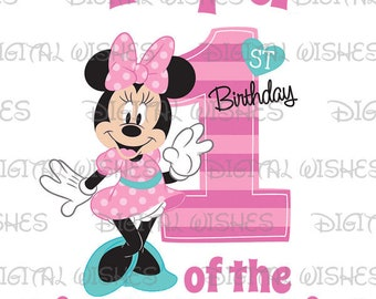 Minnie Mouse 1st Birthday stripes hearts Papa of the Birthday Girl Digital Iron on transfer image clip art INSTANT DOWNLOAD DIY for Shirt