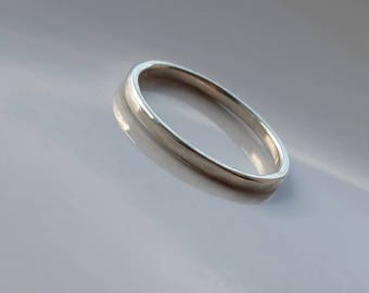 Thin 9k White Gold Wedding Band for Women or Stacking Ring