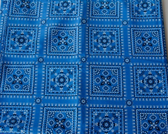 "Last Piece! 1 yard 1960s Bandana Fabric Blue Vintage 35"" wide 100% cotton - B10"