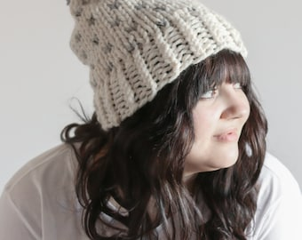 Chunky Fair Isle Hat Knit Slouchy Beanie With Pom Pom | THE KINSARVIK in Fisherman and Mushroom