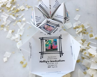 Printable FLEXIBLE Photo Cootie Catcher/Fortune Teller - Flexible Template - Birthday - Graduation - Communion - Party Invitation