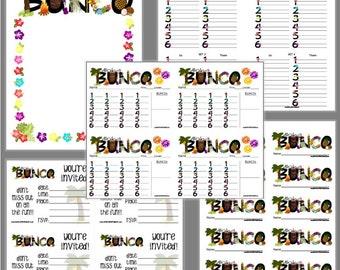 Aloha Bunco Printable Set, Luau Bunco Score Cards & Tally Sheet, Instant Download, Editable Bunco Invites