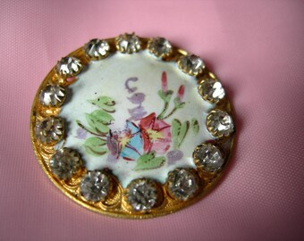Antique Enamel Button with Paste Stone Border and Handpainted Floral Center