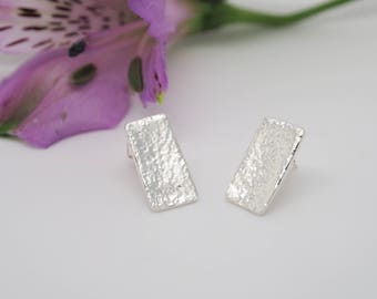 Handmade Hammered Fine Silver Rectangle Stud Earrings. Geometric Jewellery, Silver Studs