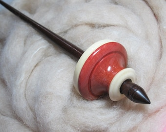 Tibetan Spindle in Pink Ivory, American Holly & Brazilian Walnut, Stainless Steel Tip, Support Spindle by Ken Mocker, Silly Salmon Designs