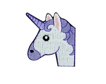 Unicorn Face Emoji Embroidered Iron On Patch - FREE SHIPPING