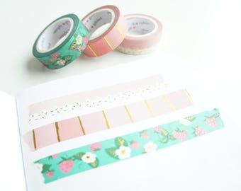 Summertime Sweetness - scallops and sprinkles, pink ombre, and strawberry patch with gold foil washi tape